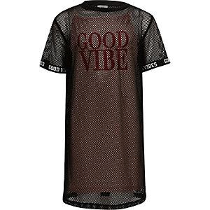 Zwarte mesh T-shirt jurk met 'good vibes'-print voor meisjes