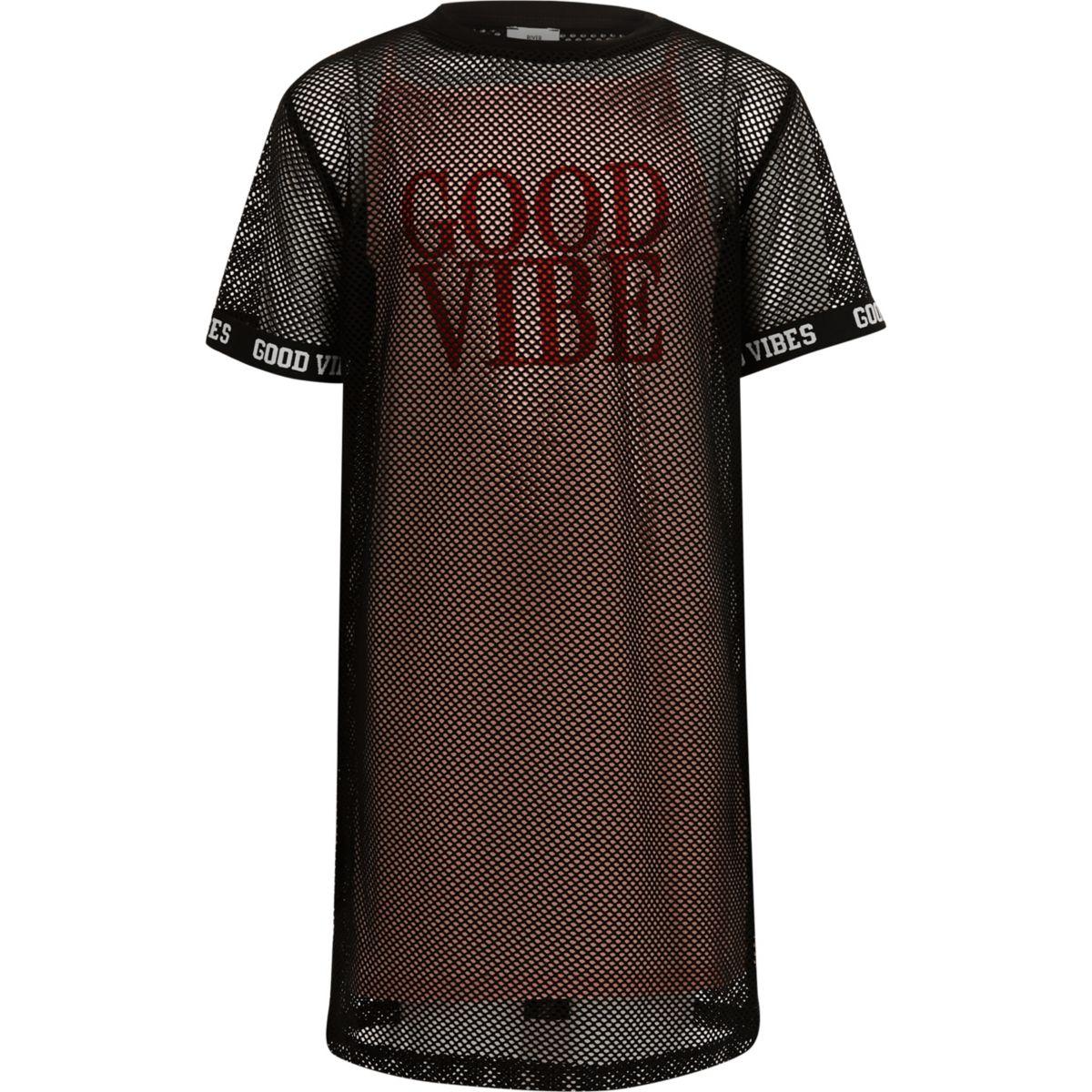 Girls black mesh 'good vibes' T-shirt dress