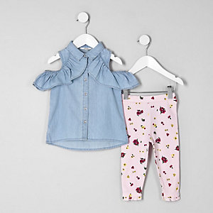 Mini girls blue denim cold shoulder outfit