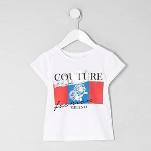 Mini - Wit T-shirt met 'couture'-print voor meisjes