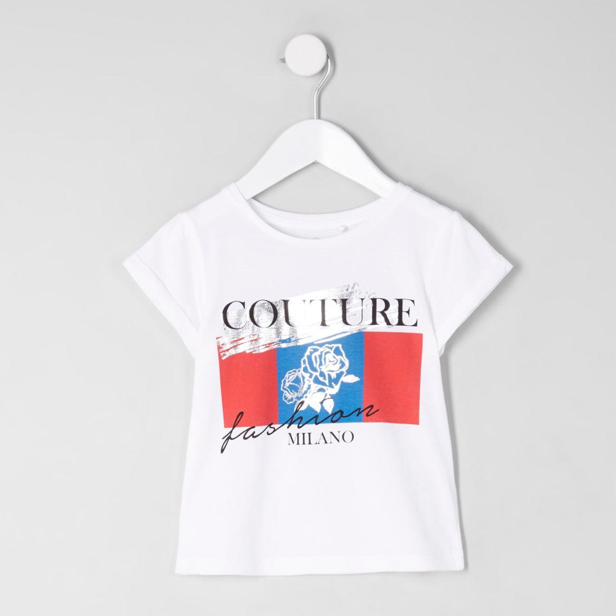 Mini girls white 'couture' print T-shirt