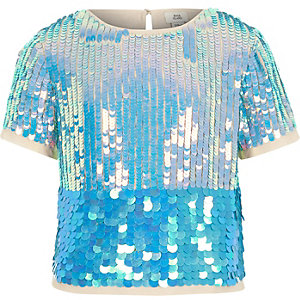 Girls blue sequin emebellished T-shirt