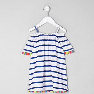 Mini girls white stripe trapeze dress
