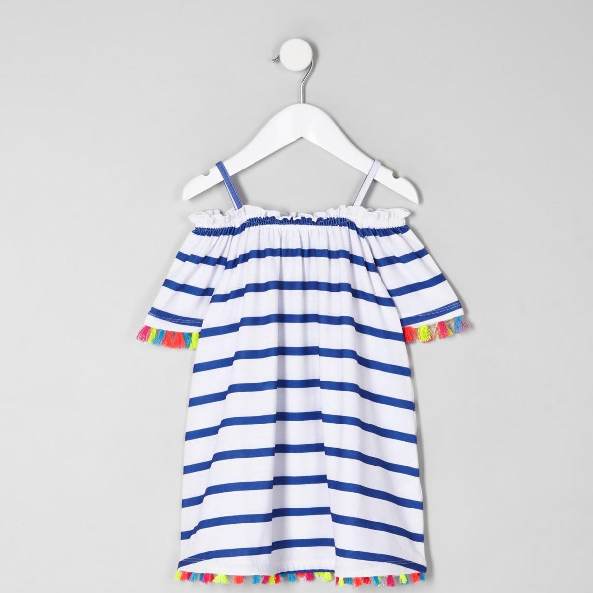 Mini girls white stripe trapeze dress