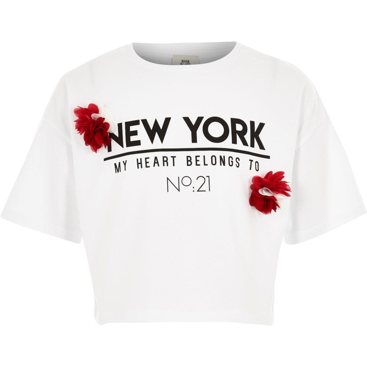 T-shirt «New York» blanc à fleur fantaisie