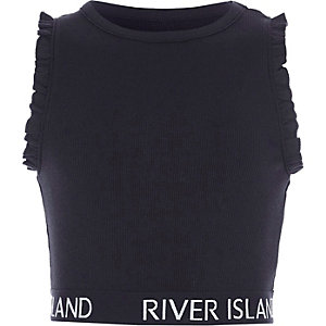 Girls navy RI branded ruffle crop top