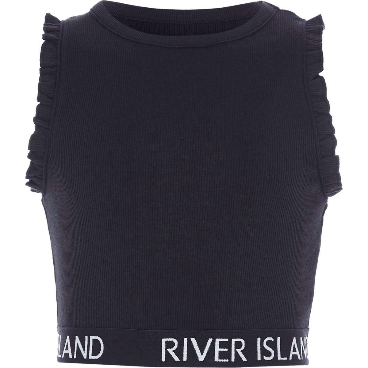 Girls navy RI branded ruffle crop top