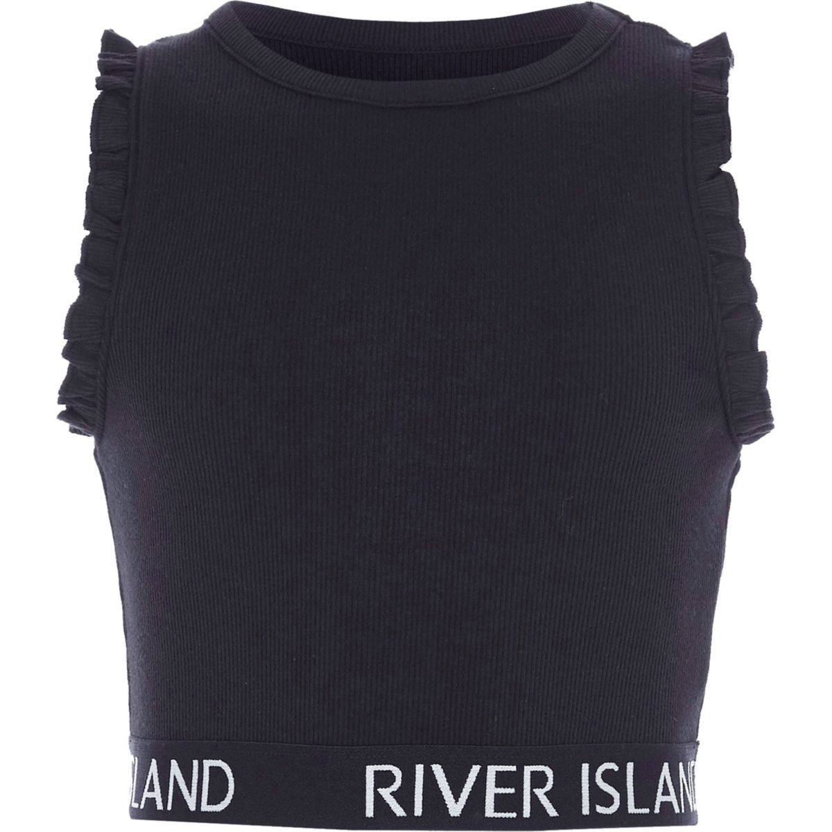 Marineblaues Crop Top mit RI-Logo