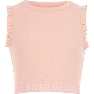 Pinkes Crop Top mit RI-Logo