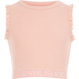 Roze crop top met RI-logo en ruches voor dames