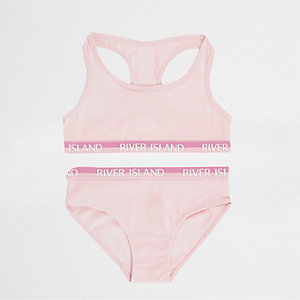 Girls dark pink racer crop top and briefs set