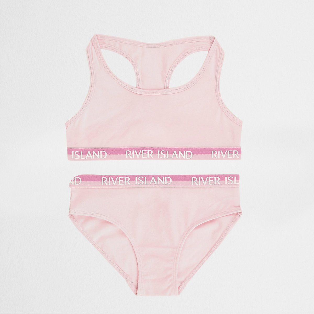 Girls dark pink racer crop top and briefs set