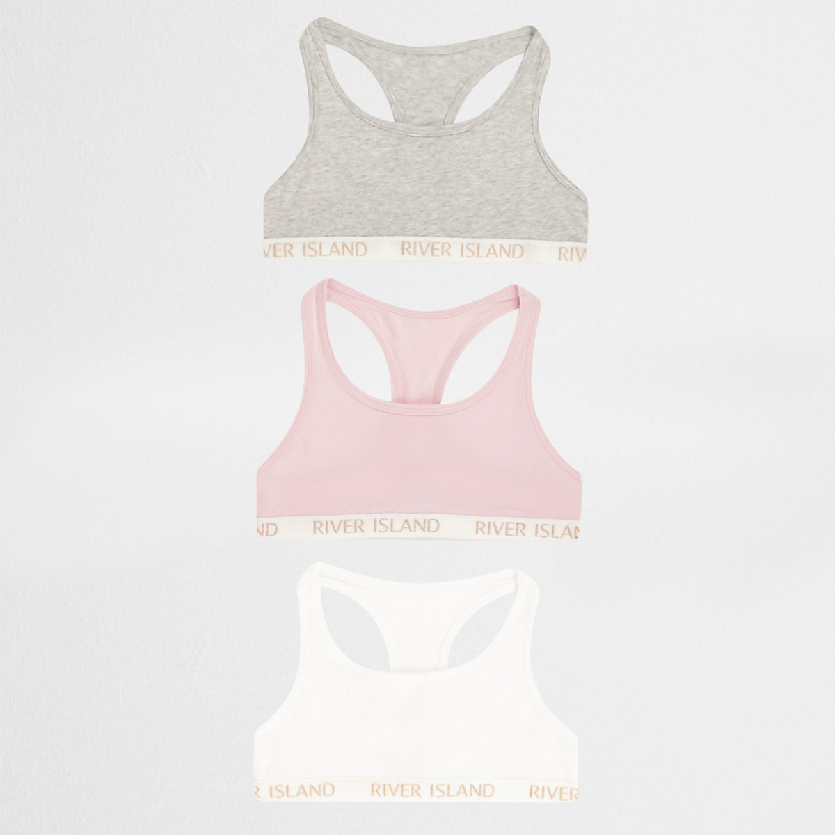 Girls pink racer back crop top multipack