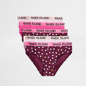 Pinke Slips mit Herz-Print, Set