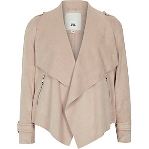 Girls cream faux suede waterfall jacket