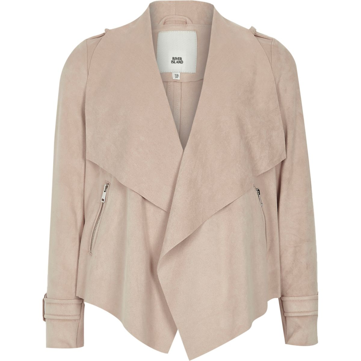 Girls cream faux suede waterfall jacket