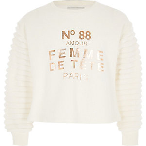 Sweatshirt mit Kunstfellärmeln
