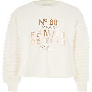 Girls cream faux fur sleeve sweatshirt