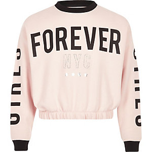 Girls pink 'forever' sweatshirt