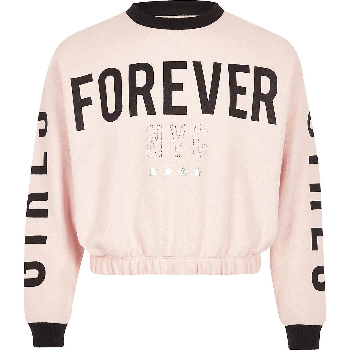 Girls pink 'forever' sweatshirt