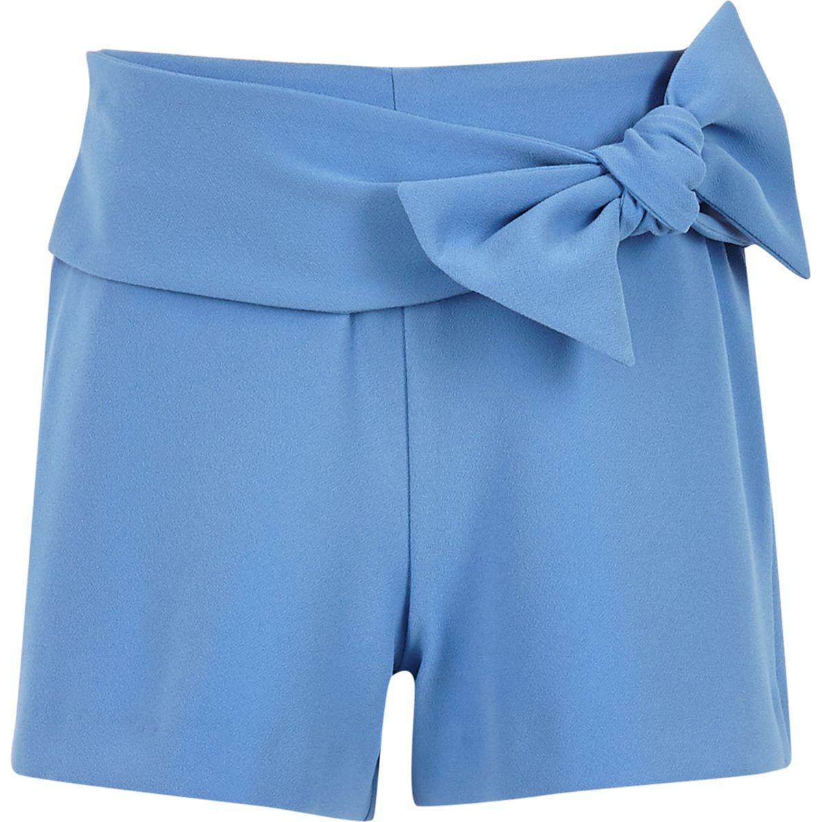 Short bleu avec nœud à l'avant pour fille