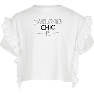 Girls white 'forever chic' frill side T-shirt