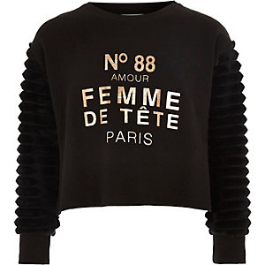 Girls black 'femme' faux fur sleeve sweater