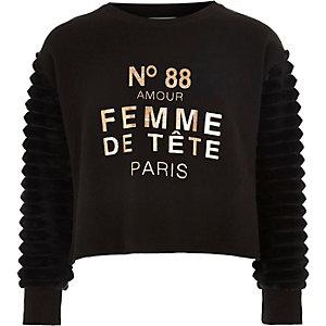 Zwarte pullover met 'femme'-print en mouwen van imitatiebont