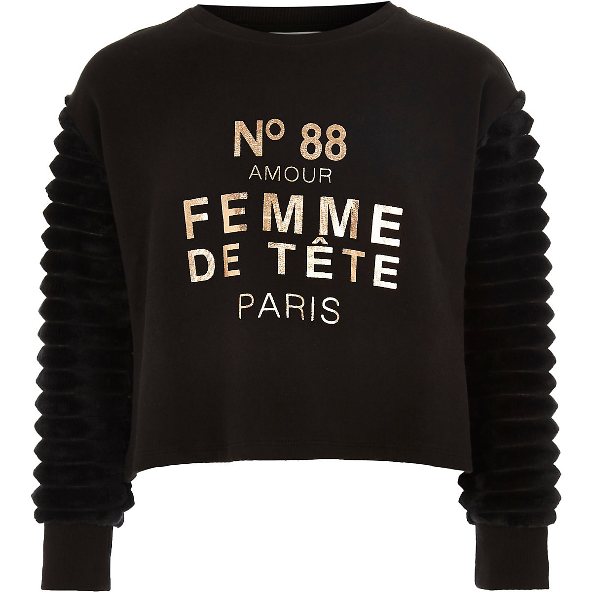 Girls black 'femme' faux fur sleeve jumper