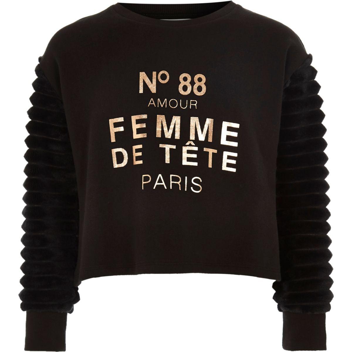 Girls black 'femme' faux fur sleeve sweater