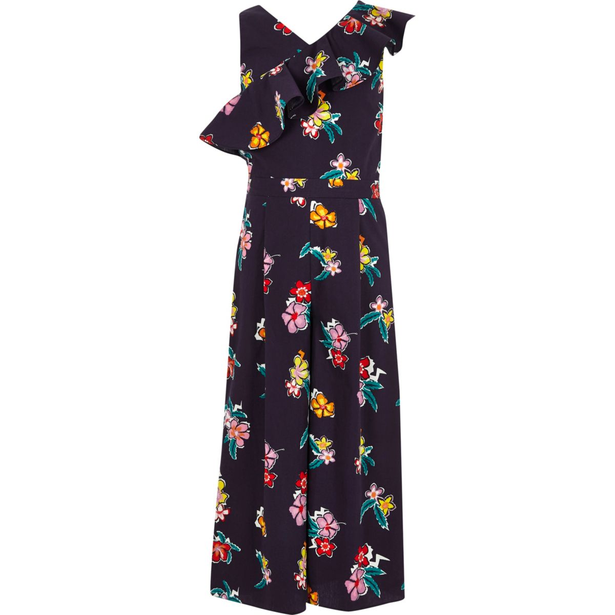Girls navy floral asymmetric frill jumpsuit