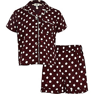 Girls red polka dot satin pajama set
