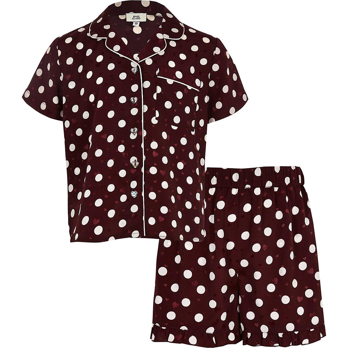Girls red polka dot satin pajama set