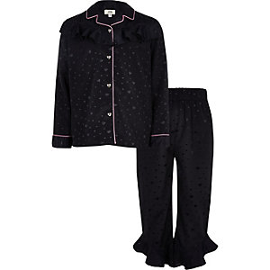 Girls navy heart ruffle satin pyjama set
