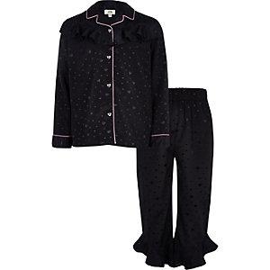 Satijnen meisjespyjama-set in marineblauw met hartjes en ruche
