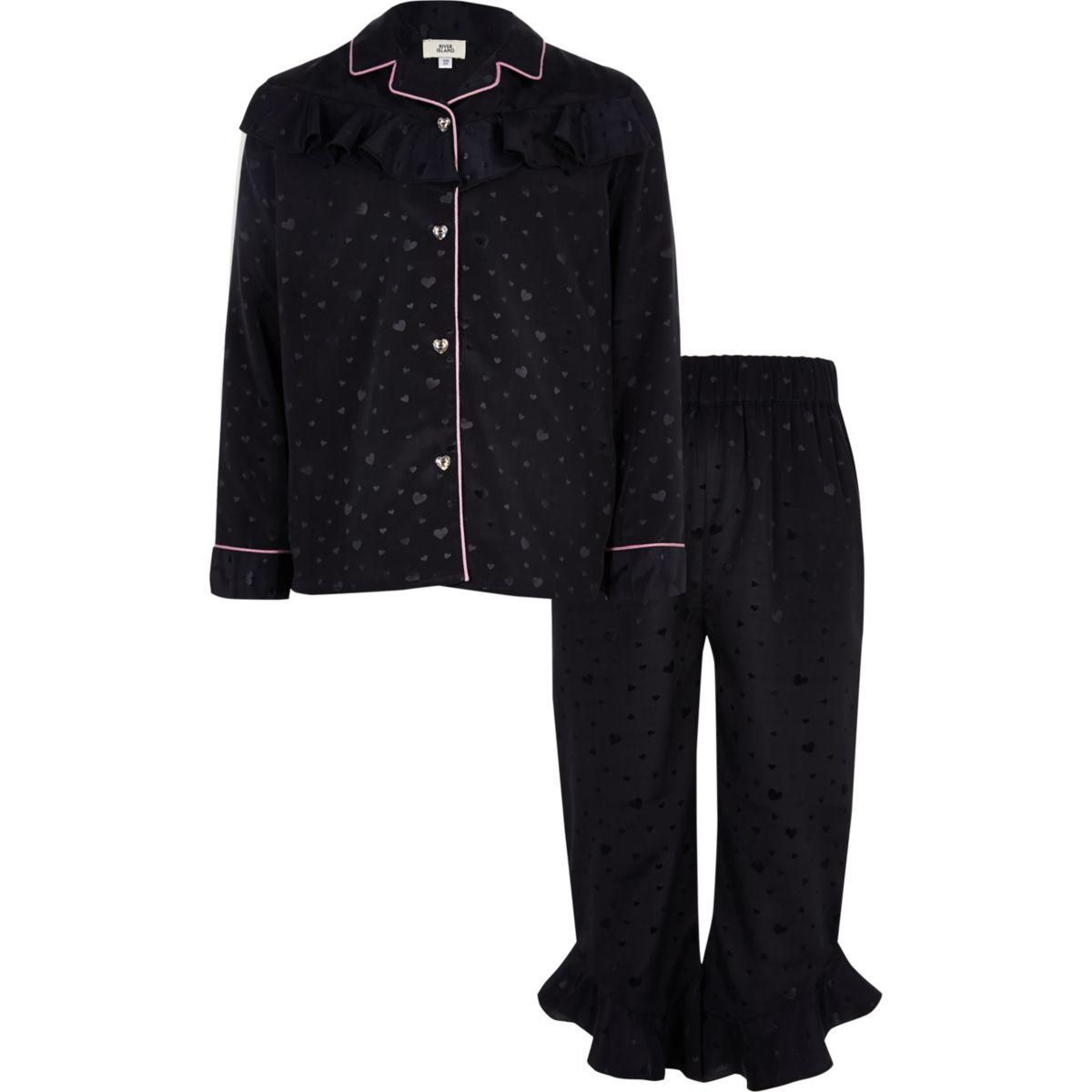 Girls navy heart ruffle satin pyjama set