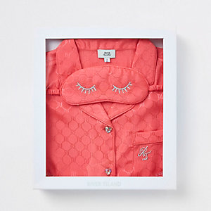Pyjama en satin rose avec logo RI en relief pour fille