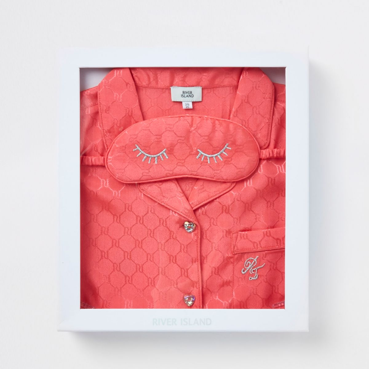 Girls pink satin RI embossed pajama set