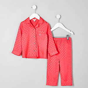Mini girls pink RI monogram satin pyjama set