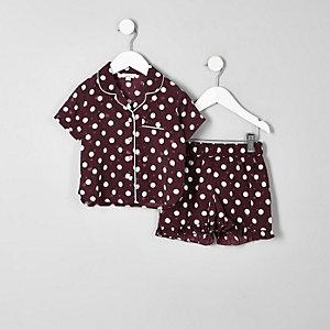 Mini - Rode satijnen pyjamaset met stippen voor meisjes