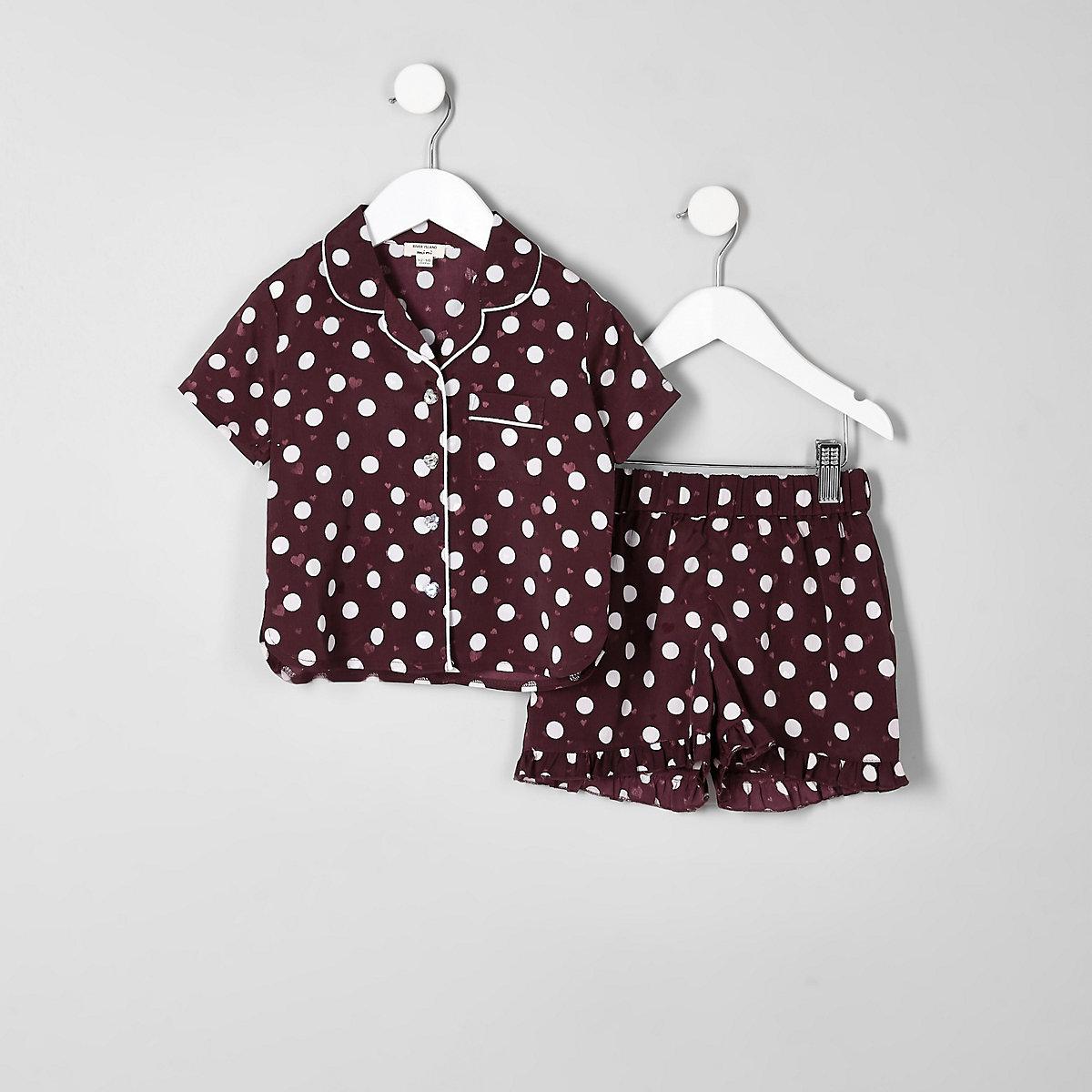 Mini girls red polka dot satin pyjama set