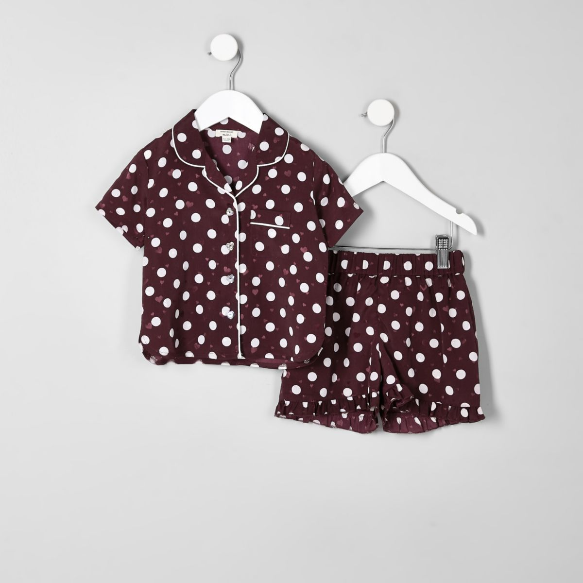 Mini girls red polka dot satin pajama set