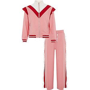 Outfit met lichtroze joggingbroek, ruches en RI-logo voor meisjes