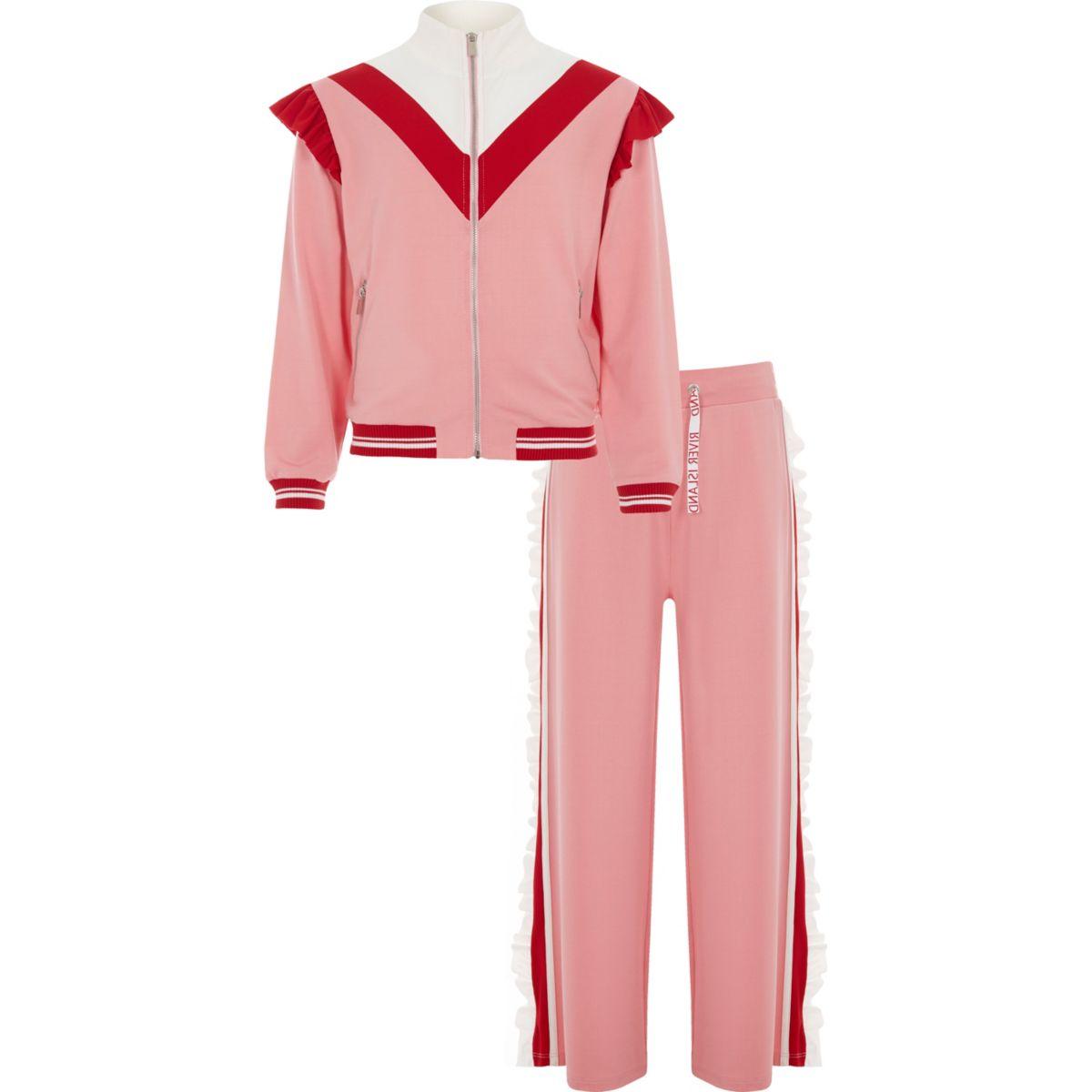 Girls light pink RI frill jogger outfit