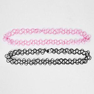 Girls pink elastic choker multipack