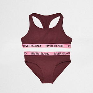 Girls dark red racer crop top and briefs set