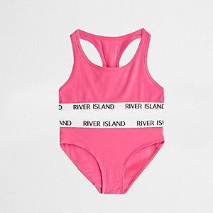 Ensemble crop top dos nageur rose vif et culotte pour fille