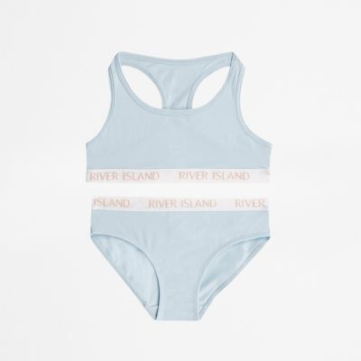 Girls Blue Racer Crop Top And Briefs Set by River Island