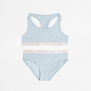 Slip und Crop Top in Blau, Set