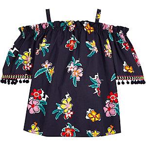 Blauwe schouderloze camitop met pompons voor meisjes